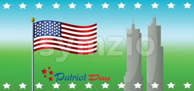 Vector Patriot Day, with usa flag and twin towers over green and blue background. Stock Vector