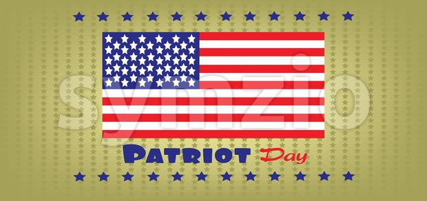 Vector Patriot Day, with usa flag and stars over khaki background. Stock Vector