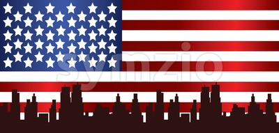 Vector Patriot Day, with usa flag and city buildings silhouette. Stock Vector