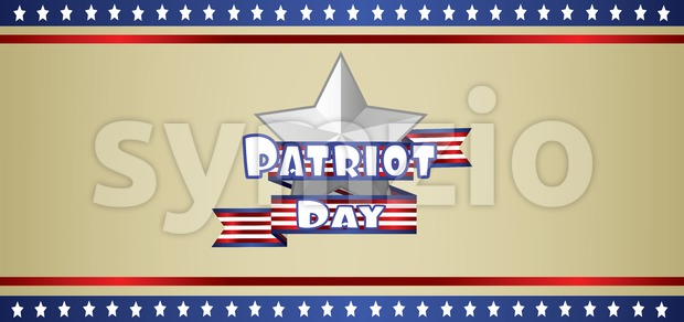 Vector Patriot Day, with blue and red stripes and stars over khaki background. Stock Vector