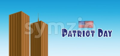 Vector Patriot Day, with usa flag and twin towers over blue background. Stock Vector