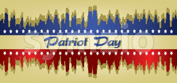 Vector Patriot Day, with stars and blue and red city buildings silhouette over khaki background. Stock Vector