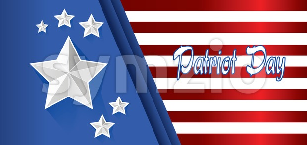 Vector Patriot Day, with blue and red stripes and big silver stars. Stock Vector