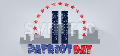 Vector Patriot Day, with red stars, usa flag and twin towers over silver background. Stock Vector