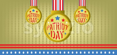 Vector Patriot Day, with blue and red stripes and gold medals over khaki background. Stock Vector