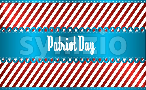 Vector Patriot Day, with blue and red stripes and blue ribbon over silver background. Stock Vector