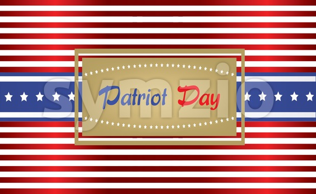 Vector Patriot Day, with blue and red stripes and stars over white background. Stock Vector