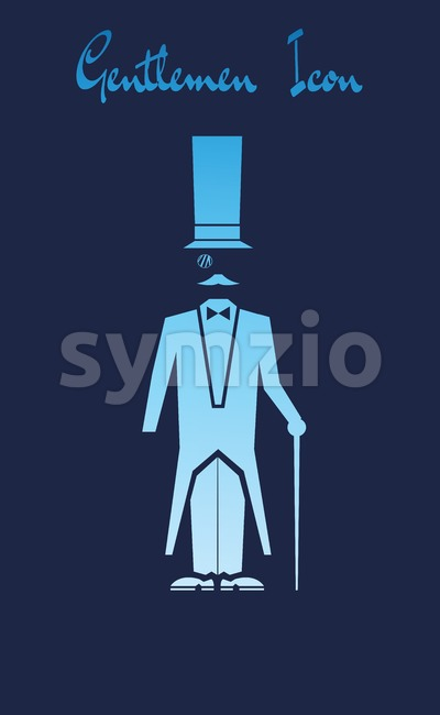 Vector Gentlemen Icon with a cartoon character with a long hat and bowtie over blue background.