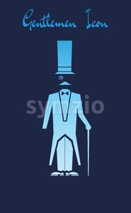 Vector Gentlemen Icon with a cartoon character with a long hat and bowtie over blue background. Stock Vector
