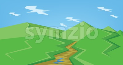 Vector abstract green landscape with a brown river and green hills with blue sky, flat style. Stock Vector
