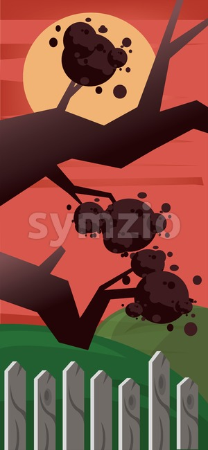 Vector abstract tree near a wooden fence in the night with big yellow moon and red sky. Stock Vector