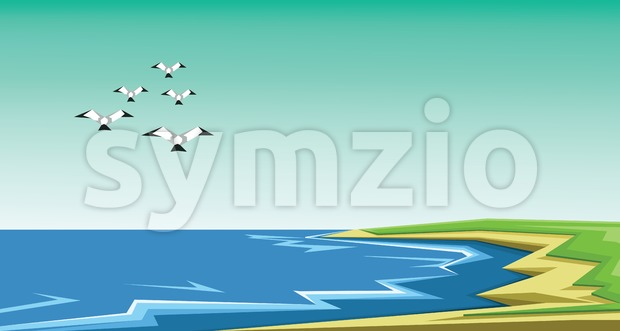 Vector abstract green landscape with sea and birds flying, sand and seashore, flat zigzag style. Stock Vector