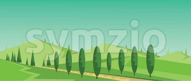 Vector abstract green landscape with alley, hills and roads, flat zigzag style. Stock Vector