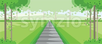 Vector abstract green landscape with silver stairs in a forest, flat zigzag style. Stock Vector