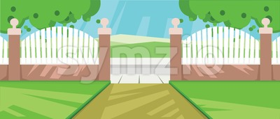 Vector abstract yard with green garden and a fence at a farm. Stock Vector