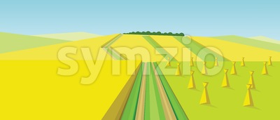 Vector abstract green landscape with yellow fields, hills, roads and ricks of hay, flat zigzag style. Stock Vector