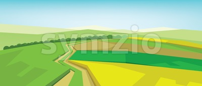 Vector abstract green landscape with yellow fields, hills and roads, flat zigzag style. Stock Vector