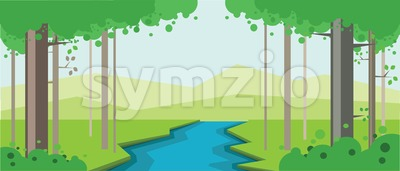 Vector abstract green landscape with a blue river in a forest, flat zigzag style. Stock Vector