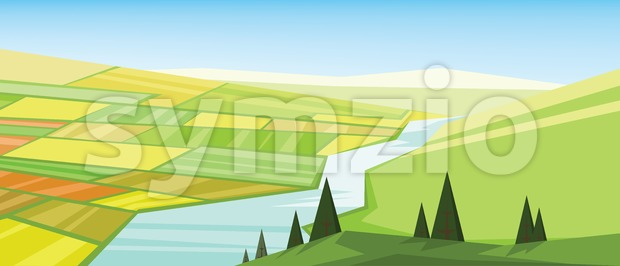 Vector abstract green landscape with yellow fields, hills and a river, flat zigzag style. Stock Vector