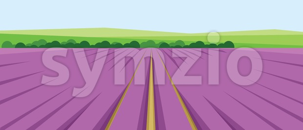 Vector abstract green landscape with pink fields, hills and roads, flat zigzag style. Stock Vector