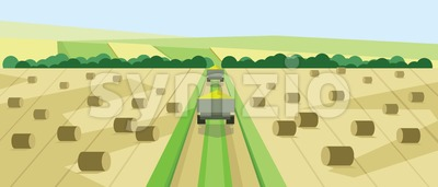 Vector abstract landscape with harvesting vehicles, hills, roads and clay ricks, flat zigzag style. Stock Vector