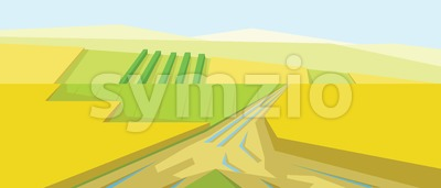Vector abstract yellow landscape with fields, hills and roads, flat zigzag style. Stock Vector