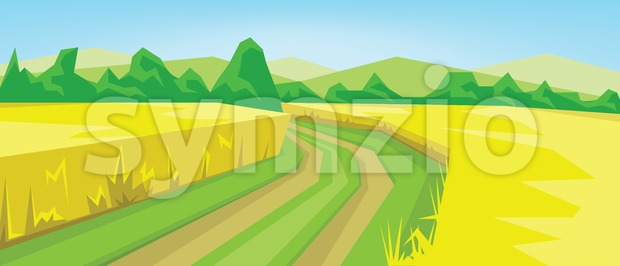 Vector abstract green landscape with yellow fields, hills and road, flat zigzag style. Stock Vector