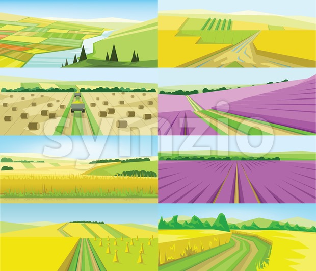 Vector abstract green landscape set with yellow and purple fields, hills and road, flat zigzag style. Stock Vector