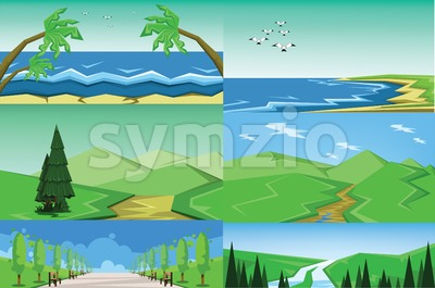 Vector abstract green landscape set with blue and sea shores, hills and road, flat zigzag style. Stock Vector