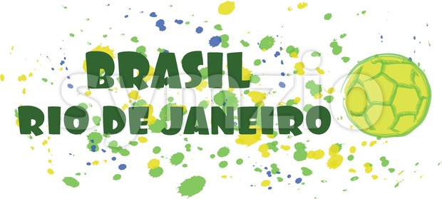 Brasil, rio de janeiro sport card with soccer ball over splash painted background. Digital vector image Stock Vector