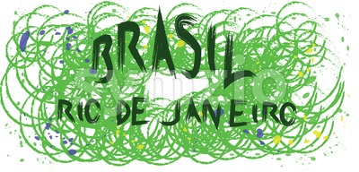 Brasil, rio de janeiro hand drawn card with splash painted background with circles. Digital vector image Stock Vector