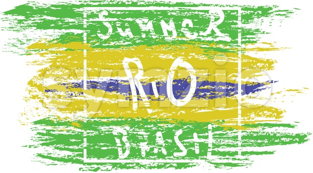 Summer Brasil, rio hand drawn card with splash painted background. Digital vector image Stock Vector