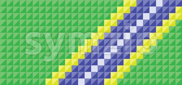 Brazil flag in square pixel style. Digital vector image Stock Vector