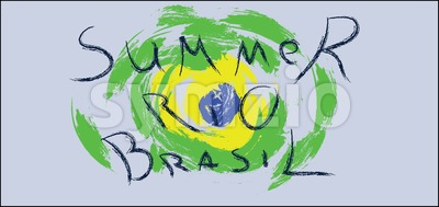 Summer rio brasil hand drawn card with splash painted shapes over silver background. Digital vector image Stock Vector