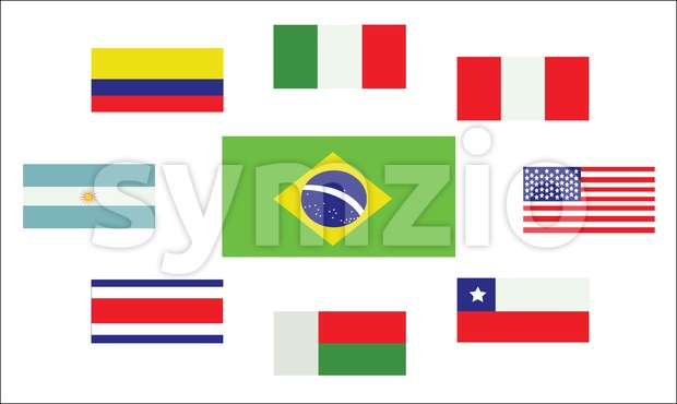 Set of country flags, Brasil, Argentina, Italy, Peru, USA, Chile, Costa Rica, Colombia and Madagascar. Digital vector image