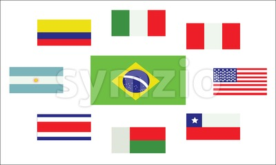 Set of country flags, Brasil, Argentina, Italy, Peru, USA, Chile, Costa Rica, Colombia and Madagascar. Digital vector image Stock Vector