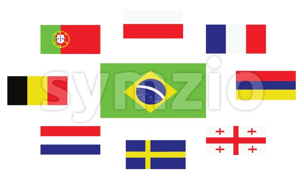 Set of country flags, Brasil, Portugal, Belgium, Sweden, France, Georgia, Netherlands, Poland and Armenia. Digital vector image Stock Vector