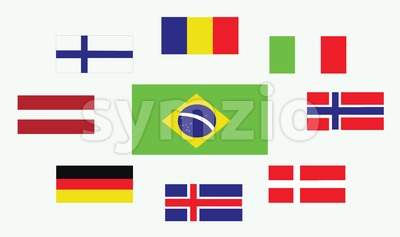 Set of country flags, Romania, Norway, Brasil, Italy, Germany, Iceland, Denmark, Finland and Austria. Digital vector image Stock Vector