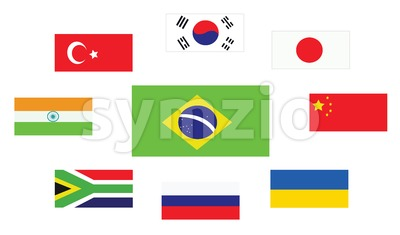 Set of country flags, Brasil, South Korea, Turkey, Japan, China, Ukraine, Russia, South Africa and India. Digital vector image Stock Vector