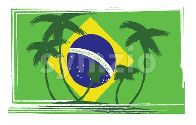 Flag of Brasil design with hand drawn palm trees. Digital vector image Stock Vector