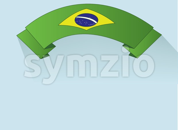 Flag of Brasil design on green ribbon. Digital vector image