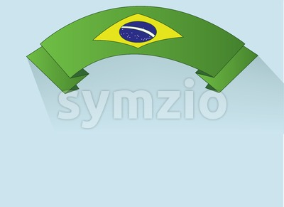Flag of Brasil design on green ribbon. Digital vector image Stock Vector