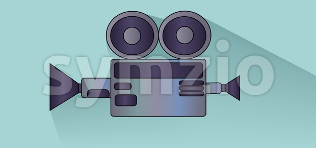 Retro cinema camera design over white blue background, flat style. Digital image vector Stock Vector