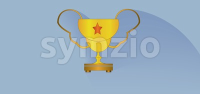 Gold cup with a star design over white blue background, flat style. Digital image vector Stock Vector