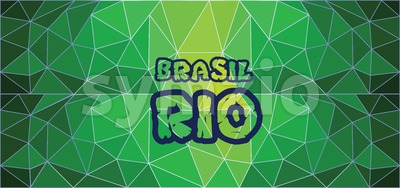 Brasil, rio card with text over green background with abstract triangles. Stock Vector
