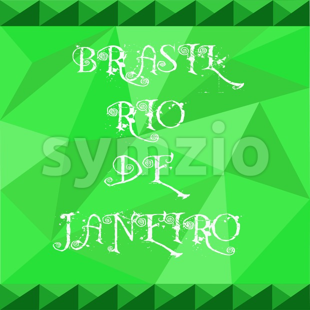 Brasil, rio de janeiro card with text over green background with abstract triangles. Stock Vector