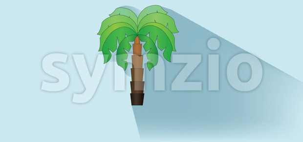 A green palm tree with brown stem and shadow over white blue background, flat style. Digital image vector Stock Vector