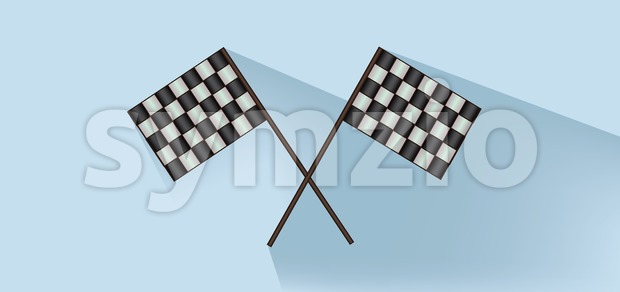 Rally flags over white blue background, flat style. Digital image vector Stock Vector