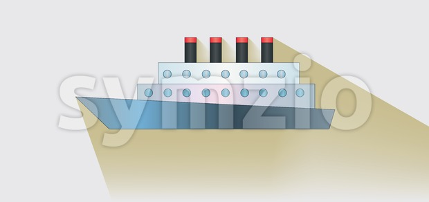 A ship with four towers over white background, flat style. Digital image vector Stock Vector