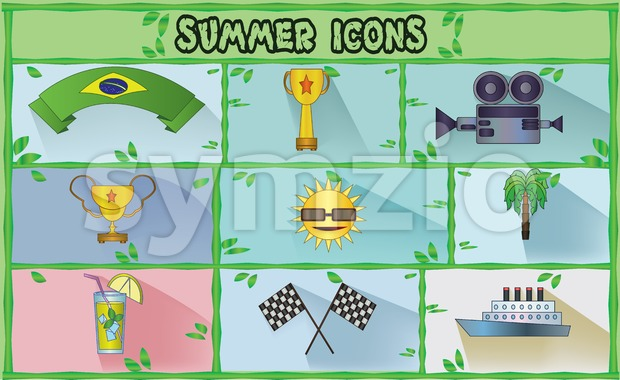 Summer icons set with brasil flag ribbon, rally flags and lemonade, flat style. Digital vector image Stock Vector